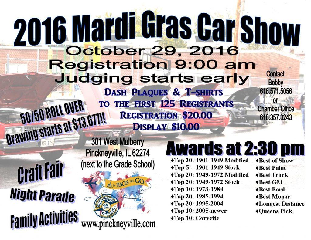 2016 Pinckneyville Mardi Gras Car Show Flyer